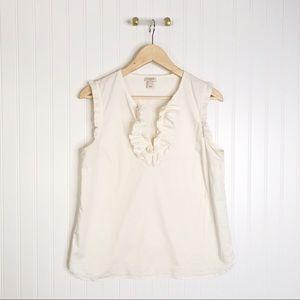 Jcrew white ruffle sleeveless blouse shirt top 8
